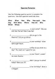 English Worksheets: Question Formation