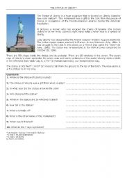 English Worksheet: The Statue of Liberty Quizz
