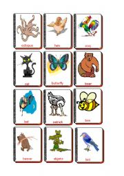 English Worksheet: Flashcards Animals 1