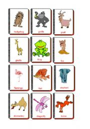 English Worksheets: Flashcards Animals 3