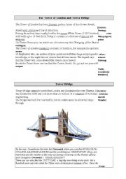 English Worksheet: The Tower of London and Tower Bridge