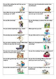 English Worksheet: Conversation cards (No. 10) -  Free-time activities - 2