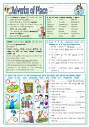 English Worksheets: Adverbs of Place