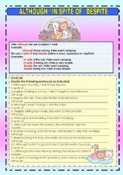 English Worksheet: ALTHOUGH / IN SPITE OF / DESPITE
