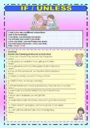English Worksheet: IF / UNLESS