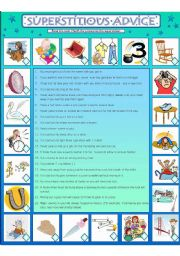 English Worksheets: Superstitious Advice