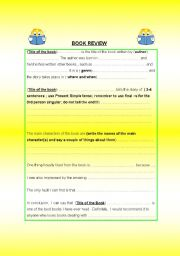 English Worksheet: WRITING A BOOK REVIEW