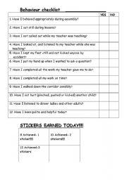 worksheet: Behaviour Checklist