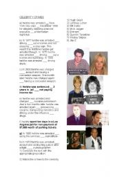 Celebrity Criminals - prepositions and reading excercise