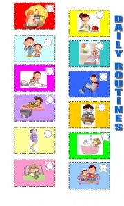 English Worksheets: DAILY ROUTINE MEMORY GAME (PART 1)