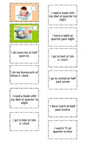 English Worksheets: DAILY ROUTINE MEMORY GAME (PART 2)
