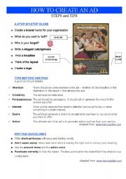 English Worksheet: ADVERT: HOW TO CREATE AN AD