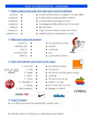English Worksheet: ADVERT : exercises