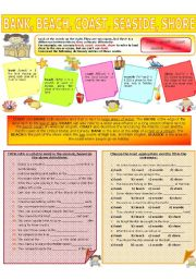 English Worksheet: COLLOCATION 13 - BANK, BEACH, COAST, SEASIDE, SHORE