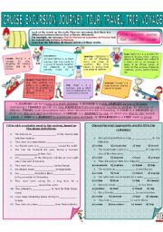 English Worksheets: COLLOCATION 14 - CRUISE, EXCURSION, JOURNEY, TOUR, TRAVEL, TRIP, VOYAGE