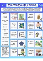 English Worksheet: CAN YOU DO ME A FAVOR?   Card #1