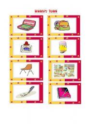 English worksheet: School things memory game