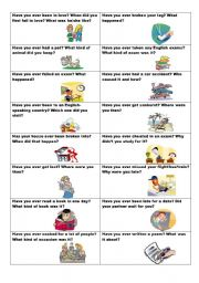 English worksheet: Conversation cards (No. 11) -  HAVE YOU EVER? - Present Perfect and Past Simple