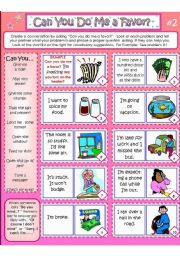 English Worksheet: CAN YOU DO ME A FAVOR? Card #2