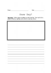 English Worksheets: Snow Day Writing Assignment