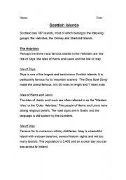 English Worksheets: Scottish Islands