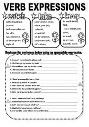 English Worksheets: VERB EXPRESSIONS, CATCH/TAKE/KEEP, BLACK&WHITE VERSION