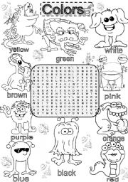 English Worksheet: Wordsearch BASIC COLORS