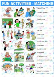 English Worksheet: FUN ACTIVITIES � MATCHING