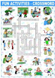 English Worksheet: FUN ACTIVITIES - CROSSWORD