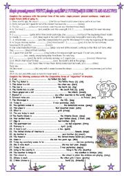 English Worksheet: simple present, present continuous, simple past, simple future {will} or going to.ADJECT�VES
