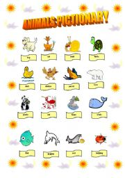 English Worksheets: Animals pictionary - 2