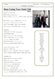 English Worksheet: Song - Stop crying your heart out - Oasis