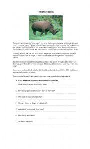 English Worksheets: Rhinoceros