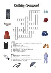 Clothing Accessories Crossword