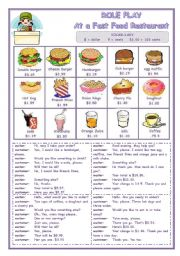 English Worksheets: ROLE PLAY  -  AT A FAST FOOD RESTAURANT