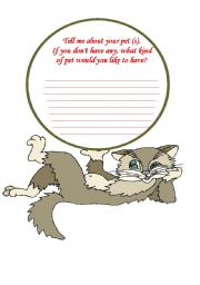 English Worksheets: journal Writing. My favorite pet