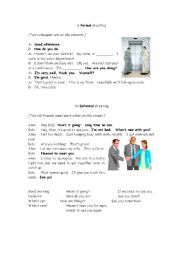 English Worksheets: Simple Formal/Informal Greetings