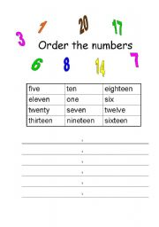 English worksheet: Order the numbers
