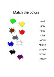 English worksheet: Match the colors