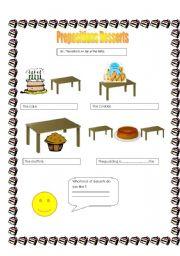 English worksheet: Prepositions-desserts