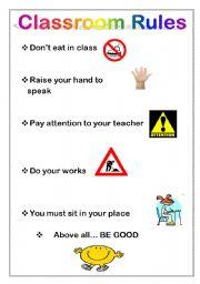 classroom rules esl worksheet by miarish