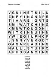 English Worksheets: activities/actions wordsearch
