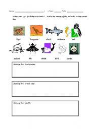 english worksheets categorizing animals. Black Bedroom Furniture Sets. Home Design Ideas