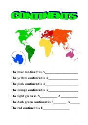 English Teaching Worksheets The Continents - Name of continents