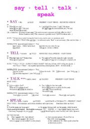 English Worksheet: SAY-TELL-TALK-SPEAK