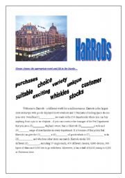 5 pages -A reading passage about Harrods with questions + fill in the blanks section [vocabulary practice ]