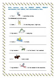 English Worksheets: Write sentences with the words and pictures given.