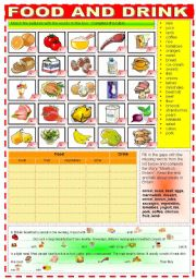 English Worksheet: FOOD AND DRINK