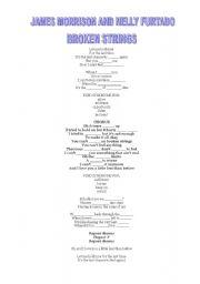 English worksheet: JAMES MORRISON & NELLY FURTADO- BROKEN STRINGS