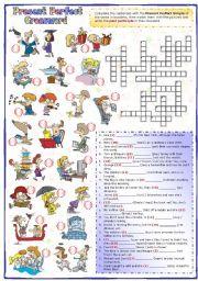 English Worksheet: Present Perfect Crossword